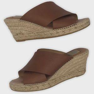 Kanna Brown Leather Espadrille Wedge Sandals 5.5